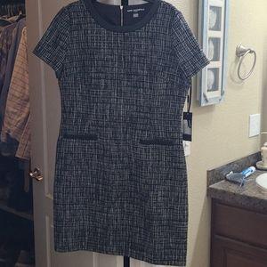 Karl Lagerfeld tweed dress with leather trim